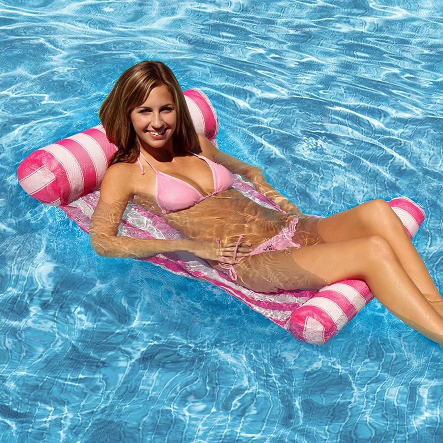 [해외]4 색 줄무늬 플로팅 슬리핑 침대 워터 풀 플로트 라운지 의자 플로트 풍선 매트리스 수영장 액세서리/4 Color Stripe Floating Sleeping Bed Water Pool Float Lounger Chair Float Inflatable Mattr