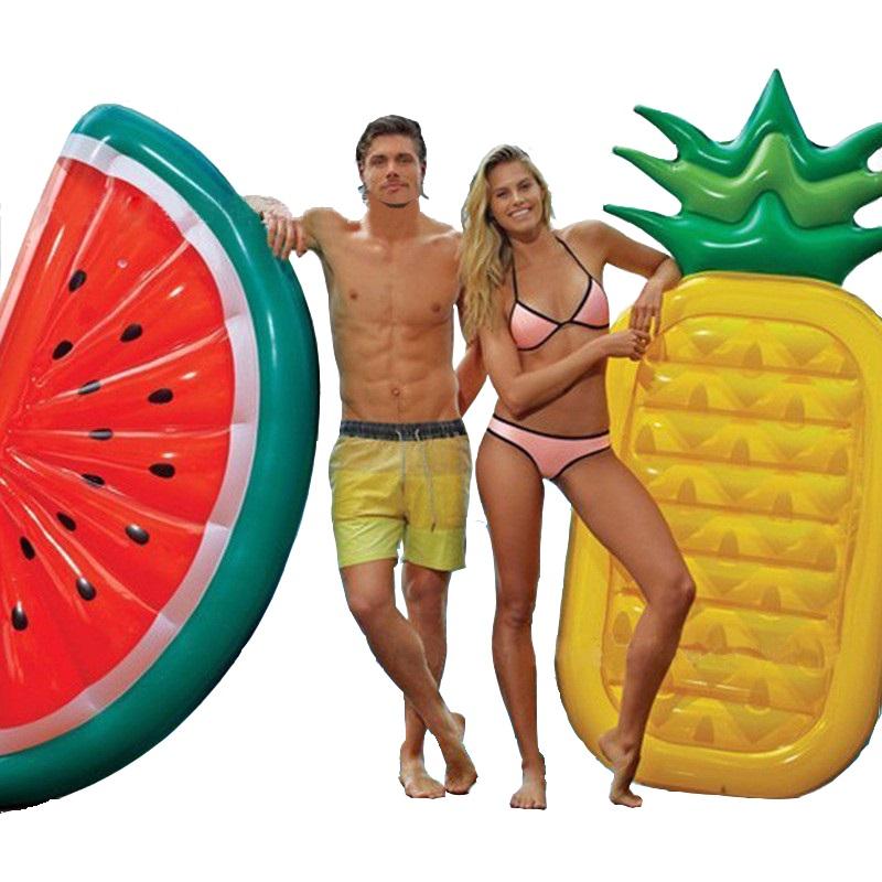 [해외]180x90cm 파인애플 플로트 여름 수박 수영 풍선 수영장 플로트 성인용 물 장난감 휴일 파티 Boia Piscina, HA038/180x90cm Pineapple Float Summer Watermelon Swimming Inflatable Pool Floa