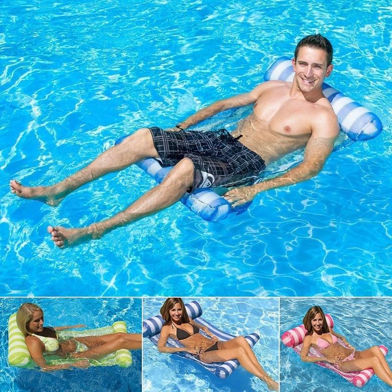 [해외]접을 수있는 옥외 물 해먹 단 하나 사람들 증가 팽창 식 비치 안락 의자 등받이 안락 의자 Floating Sleeping Bed Chair/Foldable Outdoor Water Hammock Single People Increase Inflatable Be