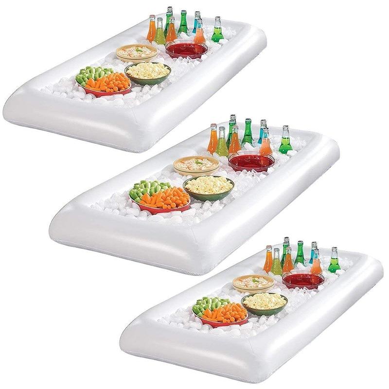 [해외]134X64Cm 풍선 맥주 쿨러 테이블 수영장 플로트 여름 물 파티 에어 매트리스 아이스 버킷 서빙 / 샐러드 바 트레이/134X64Cm Inflatable Beer Cooler Table Pool Float Summer Water Party Air Mattre