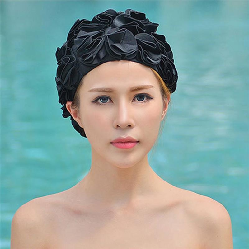 [해외]3D 꽃 여성 수영 모자 성인 수영 스포츠 수영장 수영복 숙녀 단색 컬러 탄성 수영 입욕 모자 캡/3D Flowers Women Swimming Cap Adult Swim Sports Pool Swimwear Ladies Solid Color Elastic Sw
