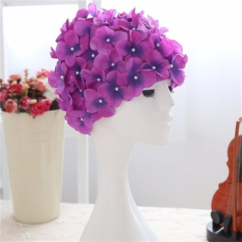[해외]3D 로맨틱 플라워 수영 모자 여성 성인 수영복 탄성 풀 워터 스포츠 수영 모자 입욕 캡/3D Romantic Flowers Swimming Cap Women Adult Swimwear Elastic Pool Water Sport Swim Hat Bathing