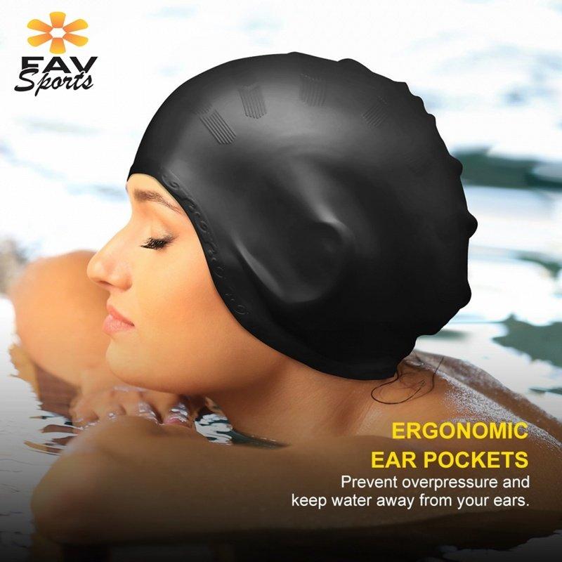 [해외]탄성 방수 수영 모자 스포츠 긴 머리 커버 귀 보호 안티 슬립 수영 수영장 모자 성인용 실리콘 모자/Elastic Waterproof Swimming Cap Sports Long Hair Cover Ears Protect Anti-slip Swim Pool Ha