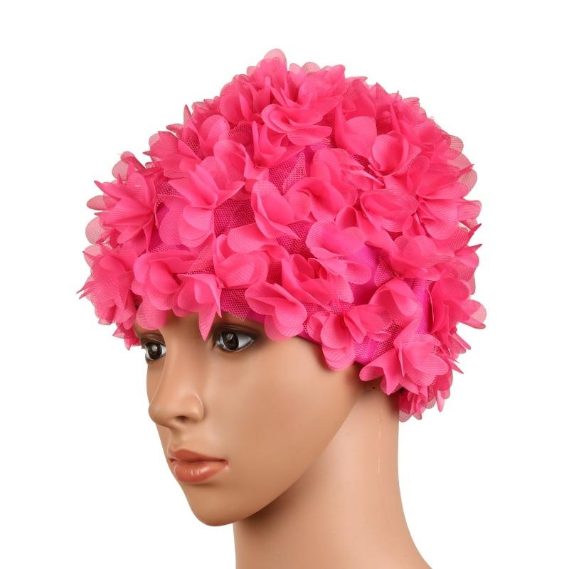[해외]여성 컬러 꽃 수영 모자 입체 꽃 꽃잎 디자인 목욕 여성 모자 숙녀 수영 모자 긴 머리에 대한/Women Colored Flowers Swimming Caps Three-dimensional flower petals Design Bath Female Cap La