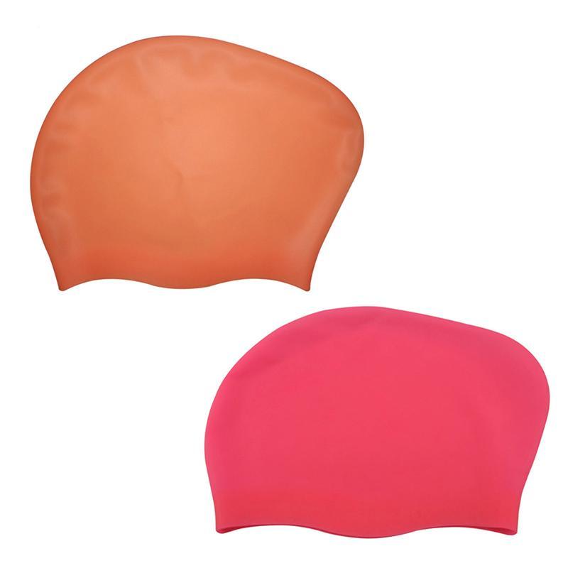 [해외]2pcs 실리콘 긴 머리 수영 모자 실리콘 젤 수영 모자 여자 남자에 대 한 모자/2pcs Silicone Long Hair Swim Cap Silicon Gel Swimming Hats Caps for Women Men