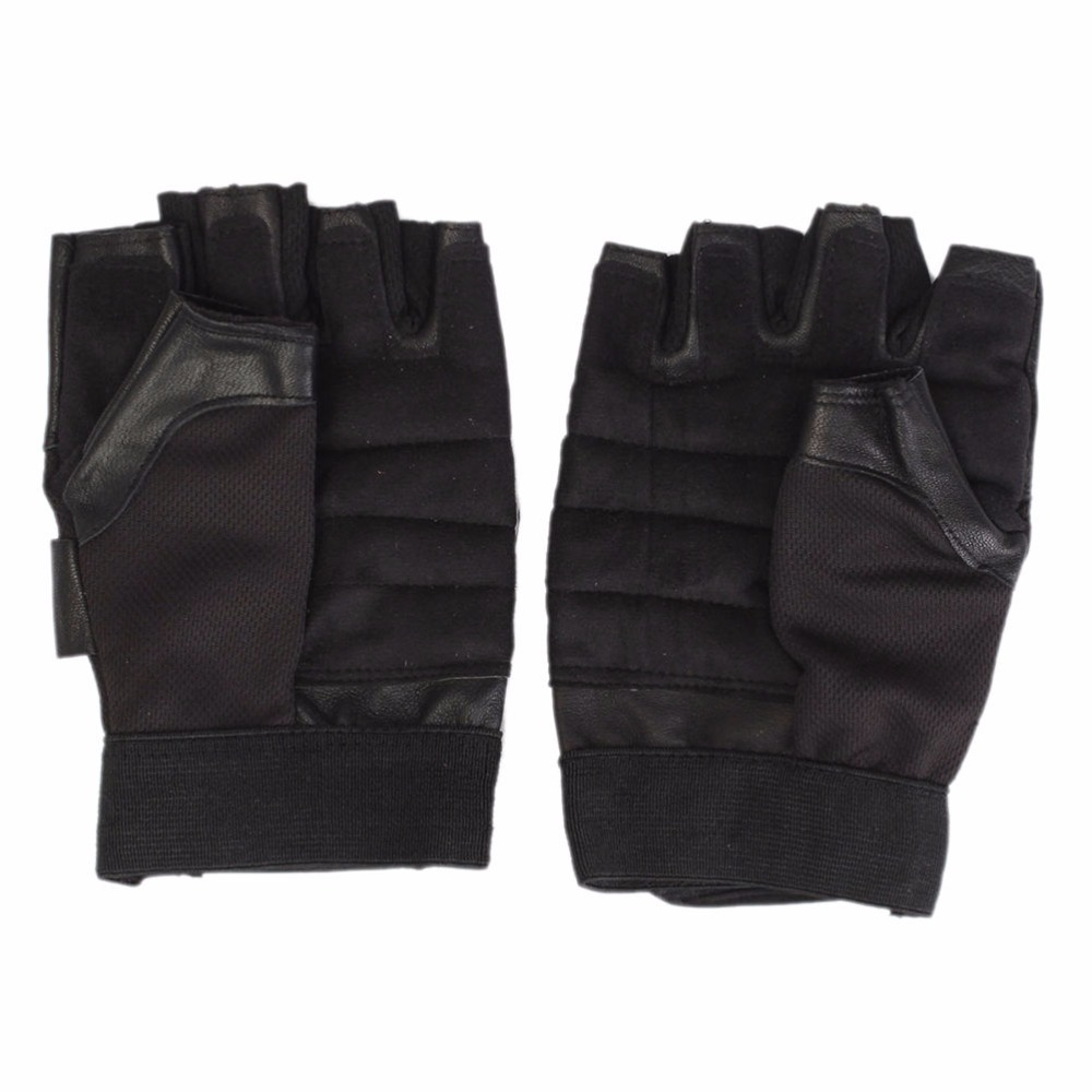 [해외]뜨거운 1Pair 블랙 PU 반 손가락 자전거 장갑 피트니스 체육관 필요한 장갑 교차점 역도 바디 빌딩 Barbell Dumbbell/Hot 1Pair Black PU Half Finger Bike Gloves Fitness Gym Necessary Gloves