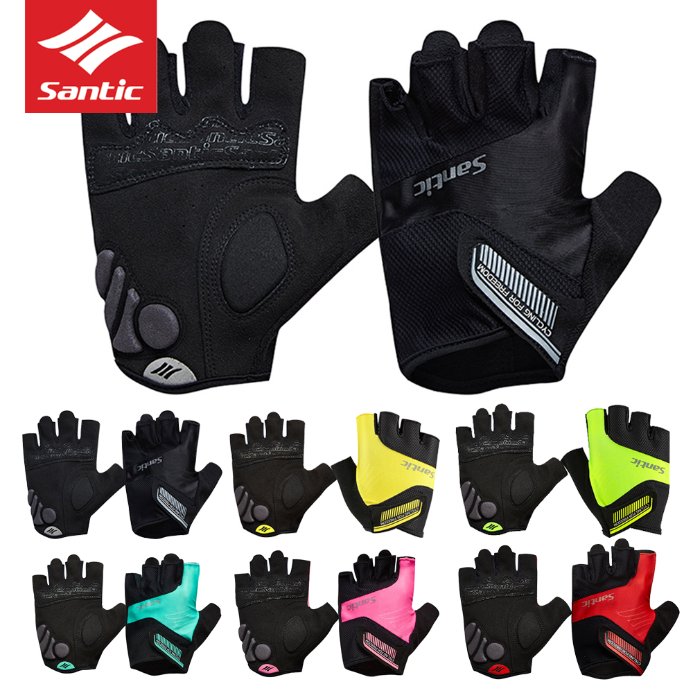 [해외]2018 Santic Colorful Cycling Half Finger Gloves 통풍 스포츠 장갑 비 - 슬립 프로 사이클링 Mitten 남자 여자 MTB 자전거/2018 Santic Colorful Cycling Half Finger Gloves Brea