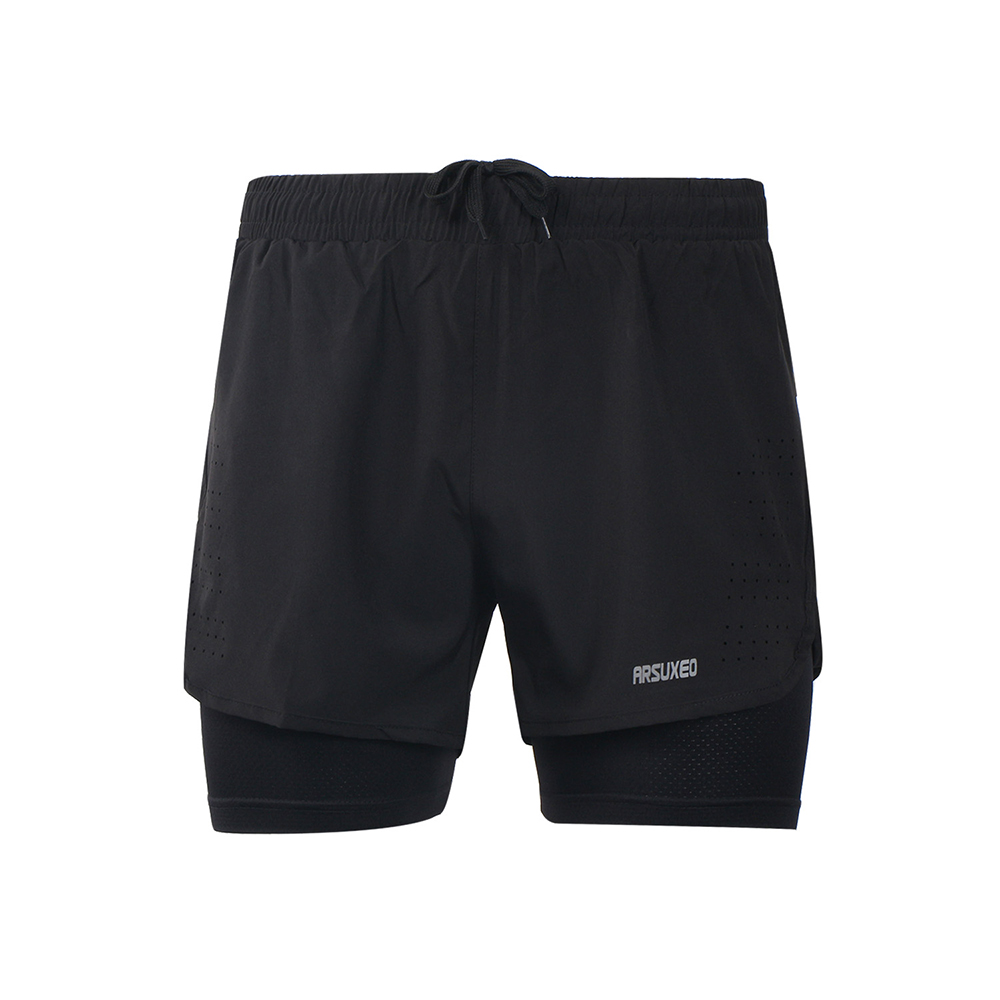 [해외]Arsuxeo Men 's s 2-in-1 Running Shorts 빠른 건조 통기성 운동 실습 조깅 사이클링 반바지 더 긴 라이너/Arsuxeo Men&s 2-in-1 Running Shorts Quick Drying Breathable Active
