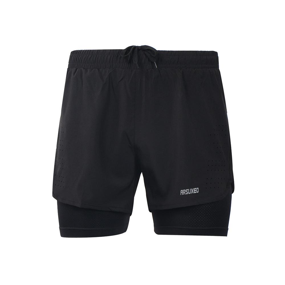 [해외]Arsuxeo Men 's s 2-in-1 Running Shorts 빠른 건조 통기성 운동 실습 조깅 사이클링 반바지 더 긴 라이너/Arsuxeo Men&s 2-in-1 Running Shorts Quick Drying Breathable Active