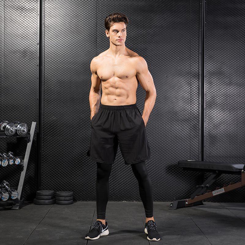 [해외]2pcs / set 남자 실행 레깅스 + 반바지 / 남자 압축 스포츠 정장 스타킹 스킨베이스 레이어 농구 빠른 드라이 스포츠 정장 Fitnes/2pcs/set Men Running Leggings+Shorts/Men Compression Sport Suits T