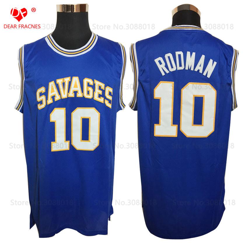 [해외]?도매 데니스 Rodman 농구 유니폼 Rodman 10 OKLAHOMA SAVAGES 대학 농구 저지 스티치 셔츠 블루/ Wholesale Mens Dennis Rodman Basketball Jerseys Rodman 10 OKLAHOMA SAVAGES Co