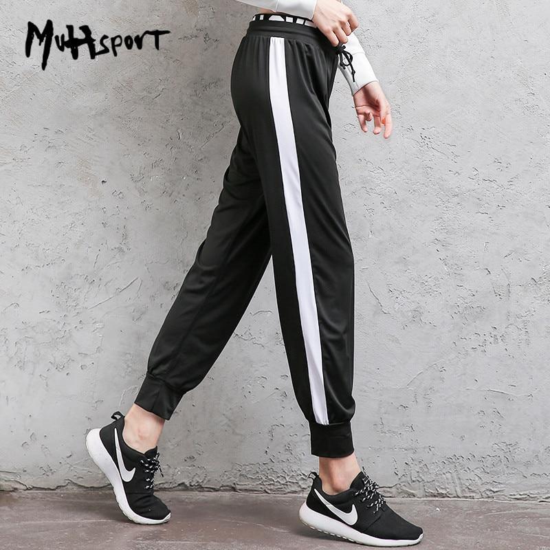 [해외]여성 가짜 2 조각 루스 사이드 스트라이프 운동 바지 조깅 러닝 팬츠 신축성있는 피트니스 요가 레깅스 하이 허스트 하렘 팬티/Women Fake 2 Pieces Loose Side Striped workout Trouser joggers Running Pants