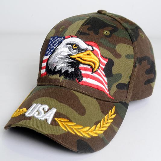 [해외]미국 독수리 자수 모자 미국 국기 카모 야구 모자 남성과 여성의 힙합 모자 야외 스포츠 모자 몇 태양 모자/USA Eagle Embroidery Hat American Flag Camo Baseball Cap Male and female hip hop hatsY