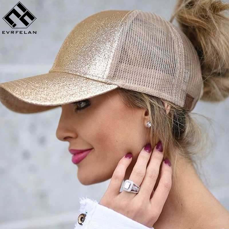 [해외]Evrfelan 메쉬 야구 모자 여성 포니 테일 캡 반짝이 스냅 백 모자 여성 스포츠 모자 편리한 메쉬 트럭 아빠 모자/Evrfelan Mesh Baseball Cap Women Ponytail Caps Glitter Snapback Caps Female Spo