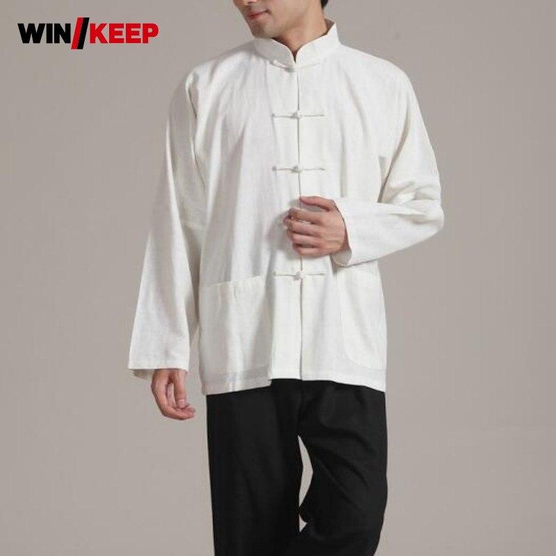[해외]?봄 Autunm 전체 슬리브 솔리드 컬러 태극권 어 스타일 무술 셔츠 남자 버튼 디자인 플러스 크기/ Spring Autunm Full Sleeve Solid Color Tai Chi Chinese Style Martial Arts Shirts Men Butt
