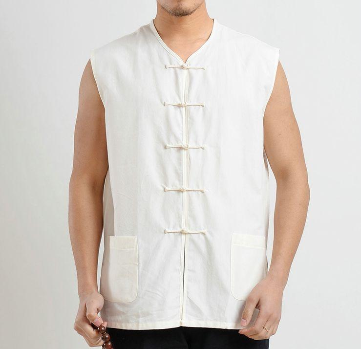 [해외]여름 셔츠 면화 굵은 재킷 남성 shaolin 승려 조끼 쿵푸 남자 선종 스님 무술 무술 정장 녹색 / 회색 / 빨강/summer shirts cotton coarse jacket male shaolin monks vest kung fu men zen monk