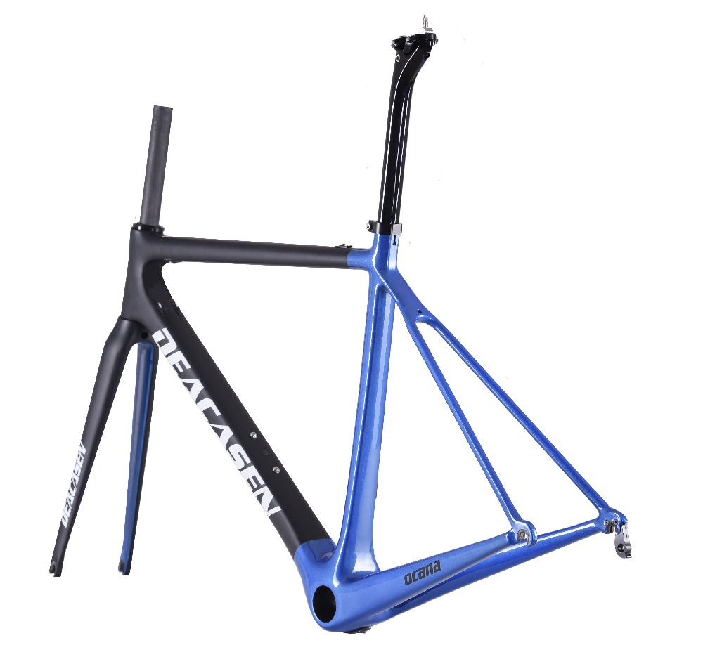 [해외]2018 슈퍼 라이트 T800 레이싱로드 카본로드 프레임 자전거 자전거 프레임 + 시트 포스트 + 포크 + 클램프 + 헤드셋 사이클링 스포츠 장비/2018 Super Light T800 Racing road Carbon Road Frame Bike Bicycle