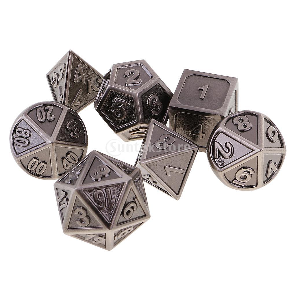 [해외]MagiDeal 1Pc 아연 합금 다 양면 주사위 게임 7 개 테이블 게임 세트 D & D DND MTG RPG 게임 TRPG 게임 연인 선물/MagiDeal  1Pc Zinc Alloy Multi Sided Dices 7 Dice Set for Tabl
