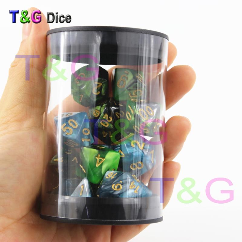 [해외]다면체 역할 놀이 게임의 2 세트 DnD 게임에 대한 DiceA 휴대용 튜브 및 무료 주사위 가방/Wholesale 2 sets of Polyhedron Role Playing Game Loaded DiceA  Portable Tube and free dice