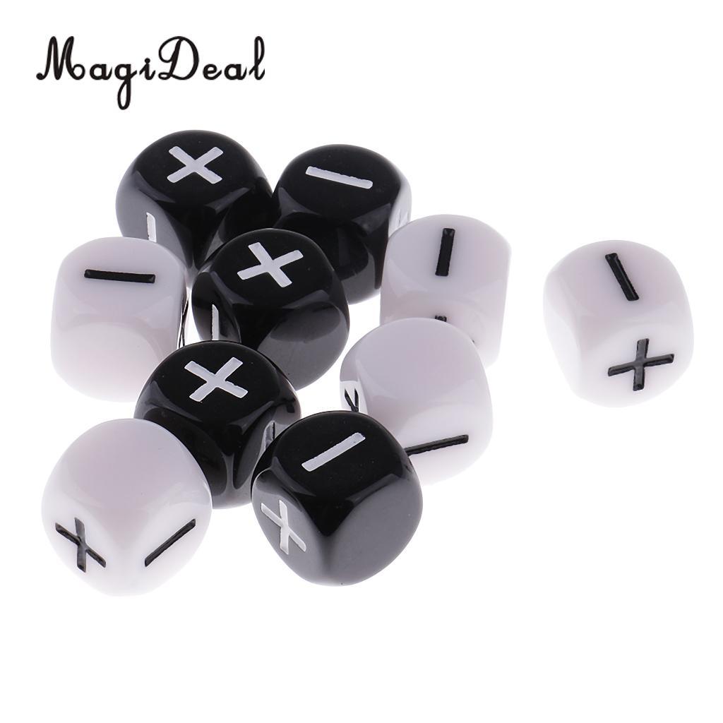 [해외]MagiDeal 10 개짜리 플라스틱 6 면체 주사위 테이블 게임 플러스 D6 D & amp; D MTG RPG 게임 학교 파티 막대기 게임 소품/MagiDeal  10Pcs Plastic 6-Sided Dice Minus Plus D6 for Table