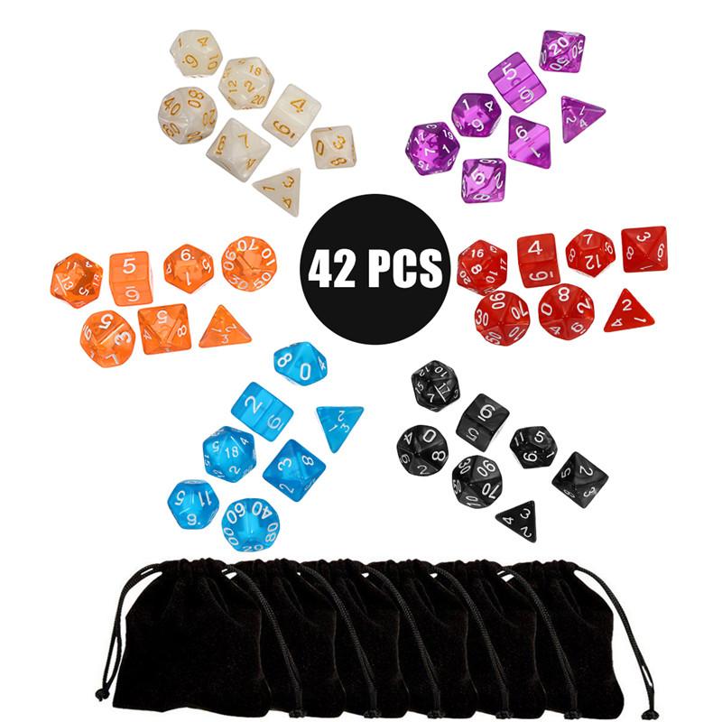[해외]42pcs / Set 다 양면 아크릴 다면체 주사위 6 색 보드 게임 Patry Club 6 TRPG 게임 애호가를디지털 주사위 선물 가방/42pcs/Set Multi-sided Acrylic Polyhedral Dice 6 Colors Board Games P