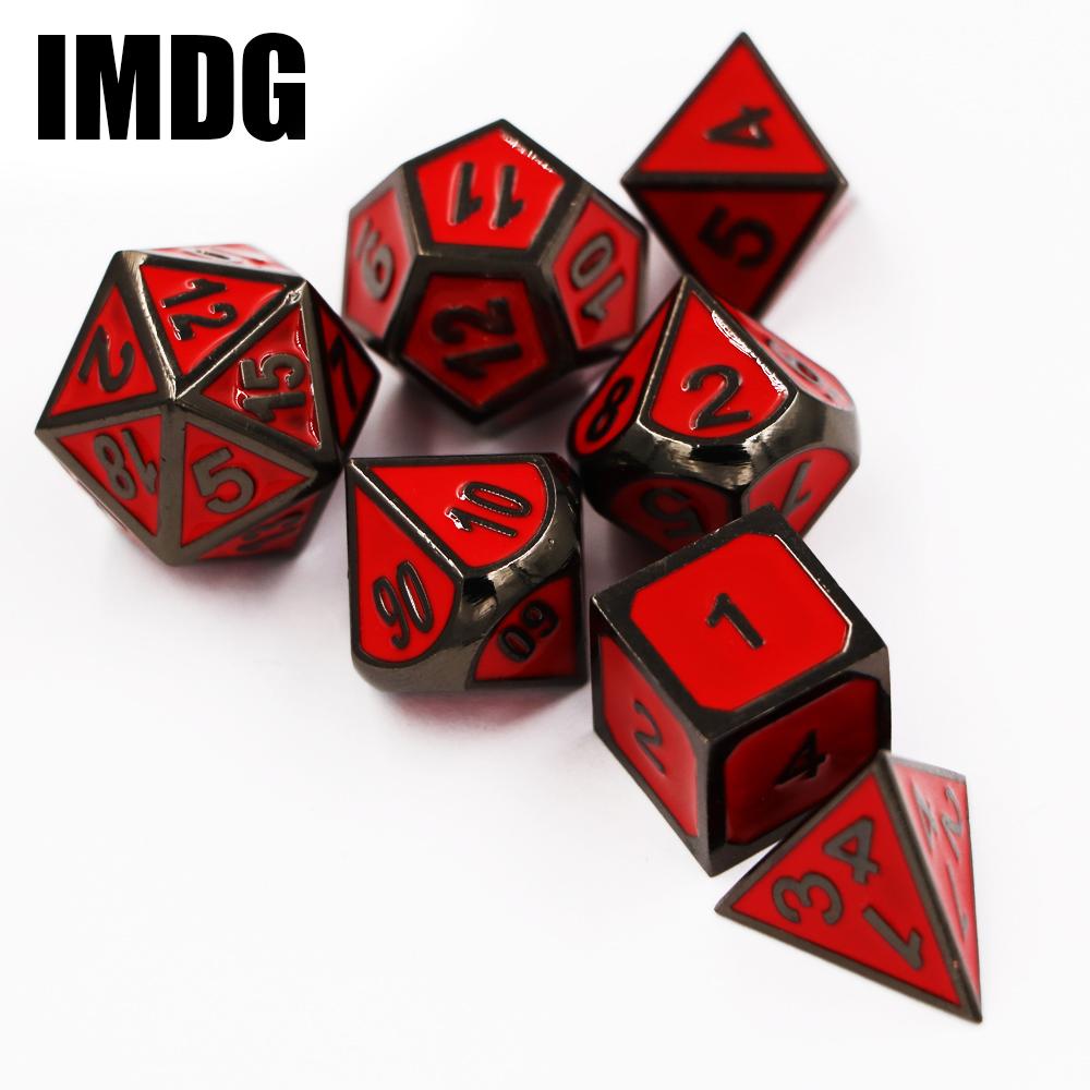 [해외]던전 & amp; 드래곤즈 7 개 / 세트 크리 에이 티브 RPG 게임 주사위 D & amp; D 금속 주사위 DND 에나멜 검은 색과 빨간색 숫자 가방 또는 상자/Dungeons & Dragons 7pcs/set Creative RPG G