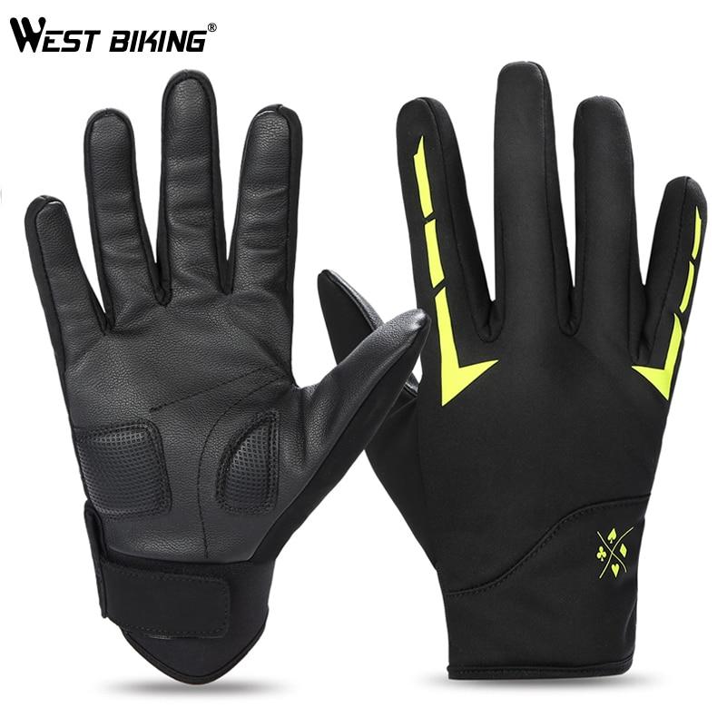 [해외]WEST BIKING Bike Gloves Winter Fleece Full Finger Bicycle Gloves Thermal Reflective Bike Gloves Touch Screen Ski Cycling Gloves/WEST BIKING Bike G