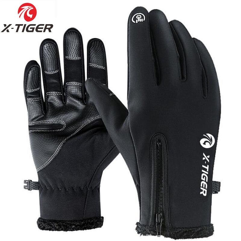 [해외]X-Tiger Winter Cycling Bicycle Gloves Windproof Thermal Warm Fleece Gloves Men Women Motorcycle Snow Skiing Sport Bike Gloves/X-Tiger Winter Cycli