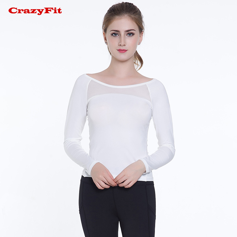 <span style=''>[해외]CrazyFit 요가 탑 화이트 스포츠 셔츠 긴 Retail 2018 새로운 휘트니..</span>