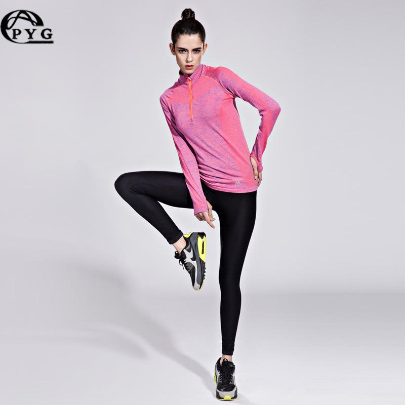 <span style=''>[해외]요가 셔츠 피트니스 티셔츠 여성 스포츠 요가 탑 롱 슬리브 하프 지퍼 러너 운동복 ..</span>
