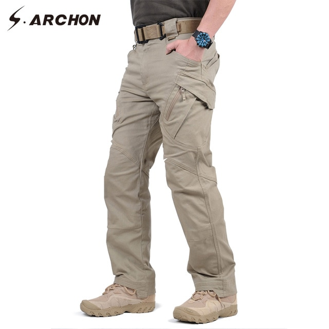 [해외]IX9Tactical Cargo Pants Men Combat Hiking Army Training Military Pants Casual Cotton Pockets Paintball Outdoor Army Trousers/IX9Tactical