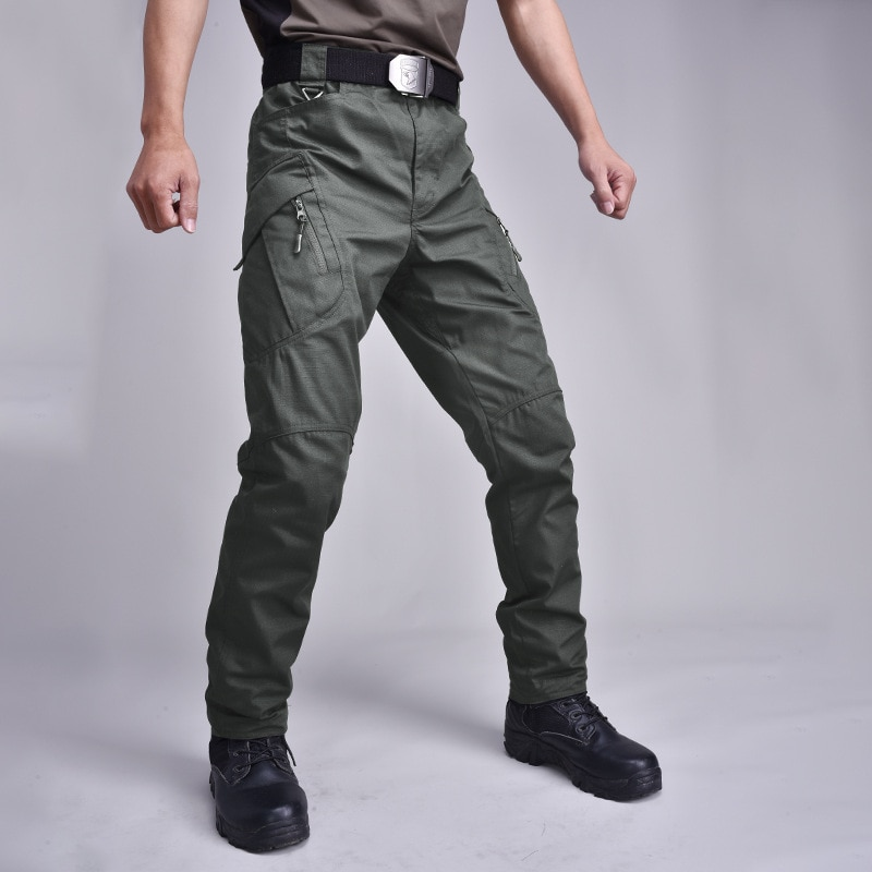 [해외]Multi Pocket Plaid Fabric Military Trouser Army Combat Training Stretch Overalls Men Outdoor Sport Straight Tactical Cargo Pants/Multi P