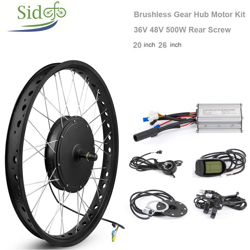 [해외]36V48V 500W Brushless Hub Motor Snow Motor Kit Rear Wheel 20 26 inch MTB Electric Bicycle Conversion fork 170mm Screw Flywheel  /36V48V 500W Brush