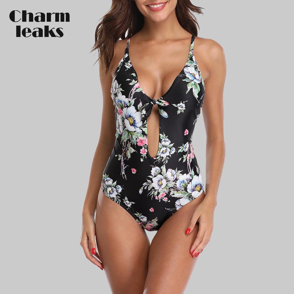 [해외]/Charmleaks Women One Piece Swimsuit Strappy Bandege Swimwear Back Cross Bikini Bathing Suit Beachwear Monokini