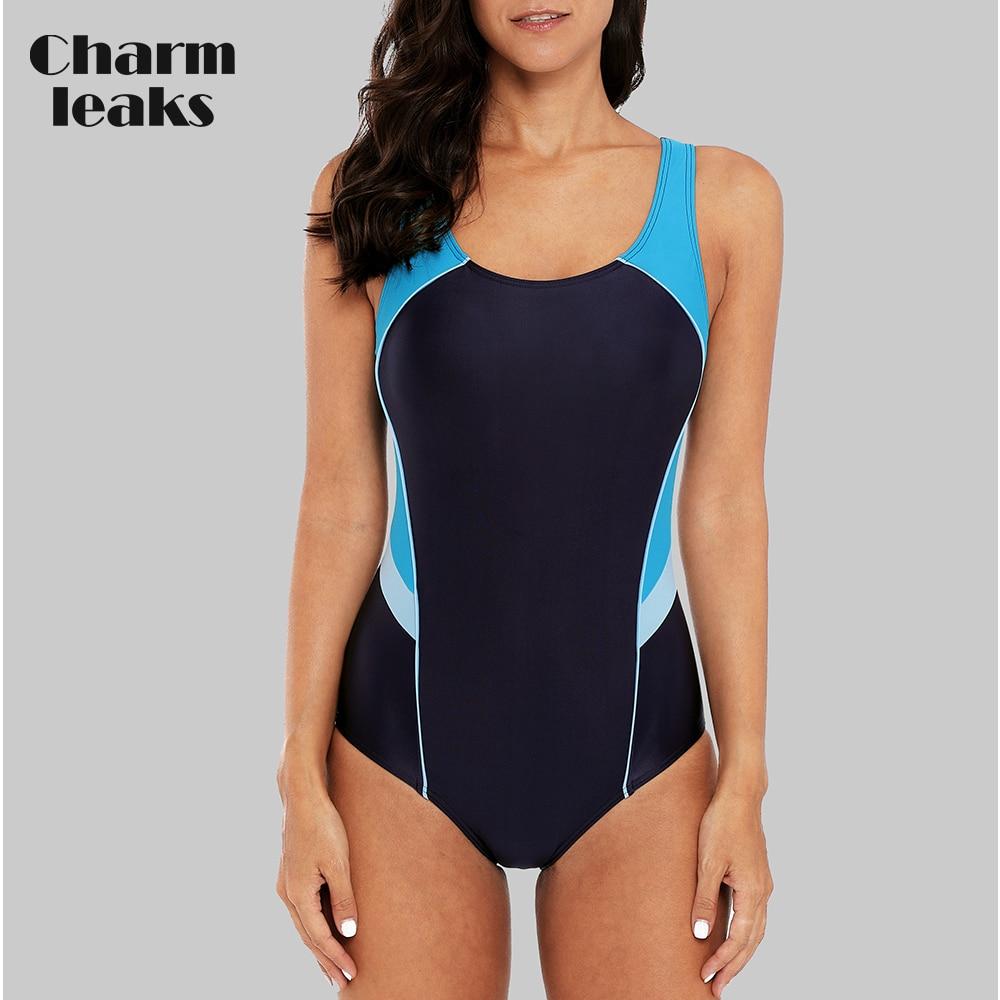 [해외]/Charmleaks Women One Piece Sports Swimwear Sports Swimsuit Slim Bikini Training Monokini Beachwear Bathing Suit