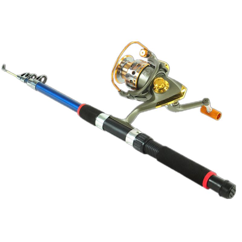 [해외]속도 비율 5.5 : 1 낚시대 텔레스코픽 유리 섬유 어항 접이식 조절 식 물고기 Rod200 낚시 릴/Speed ratio 5.5:1 Fishing Rod Telescopic Fiberglass Fish Pole Folding Adjustable Fish Ro