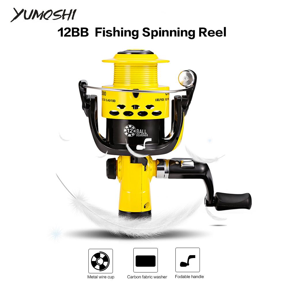 [해외]YUMOSHI 12BB 5.5 : 1 비율 어선 릴 경량 플라스틱 방적 낚시 릴 뒤 끌기 CTR1000 7000 플라스틱 스풀/YUMOSHI 12BB 5.5:1 Ratio Fishing Reels Lightweight Plastic Spinning Fishing