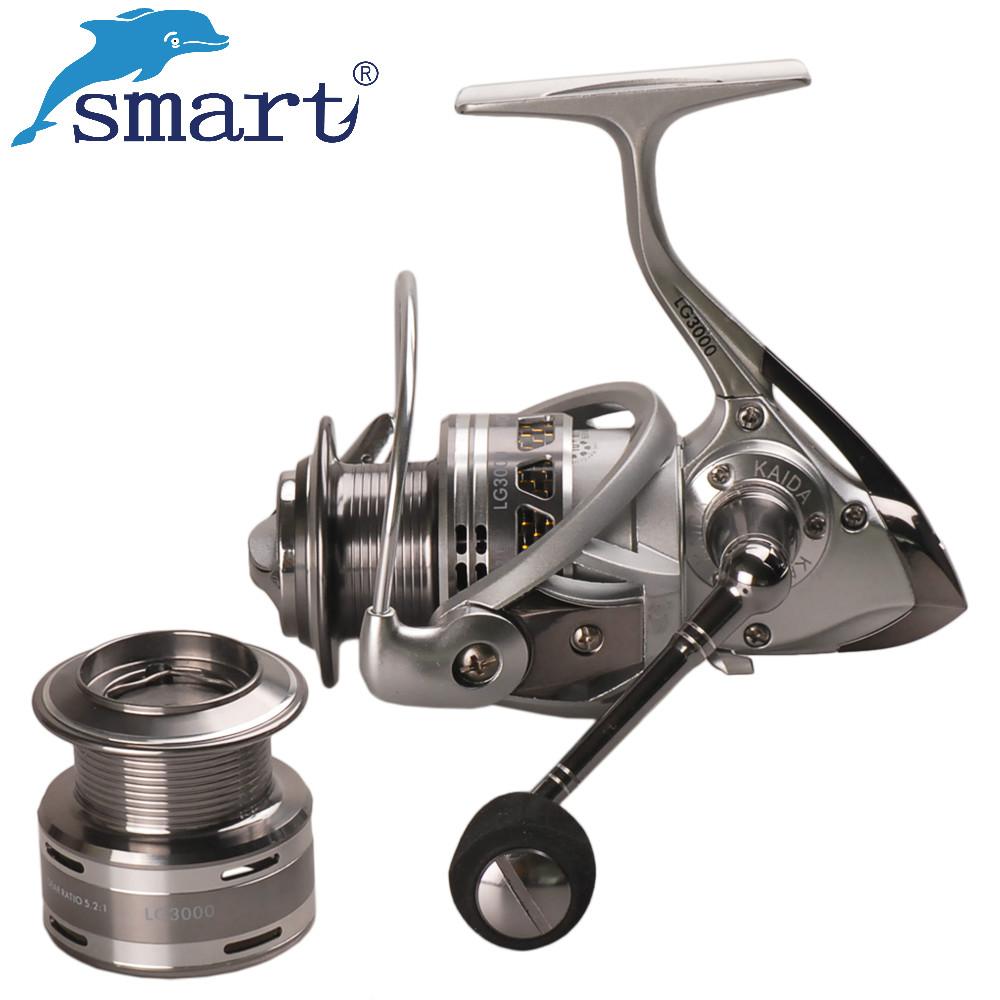 [해외]스마트 LGL1000A LGL3000A 방적 낚시 릴 10 + 1BB 5.2 : 1 더블 메탈 스풀 루어 릴 Carretilha 드 Pescaria Moulinet Peche/Smart LGL1000A LGL3000A Spinning Fishing Reel 10
