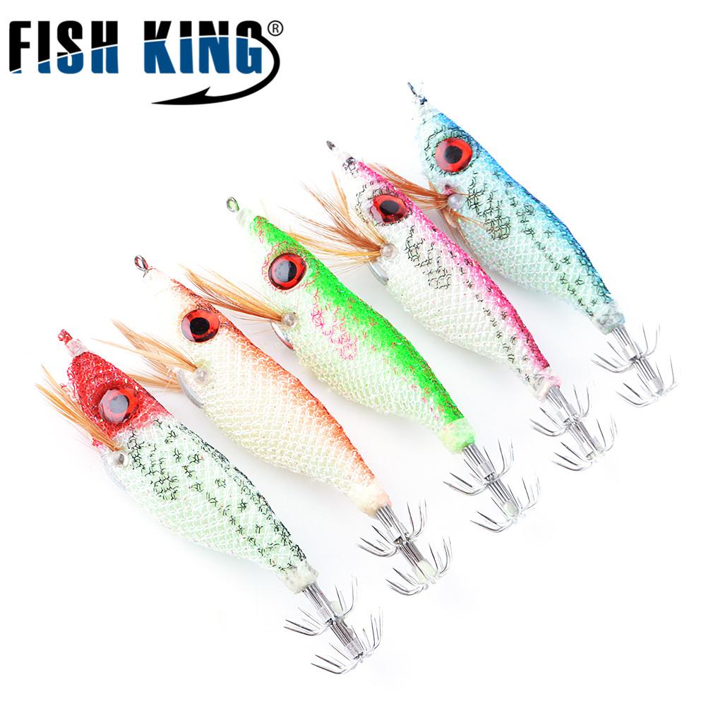 [해외]물고기 킹 5PCS / lot 5 색 10cm 8g 빅 아이즈 라이트 우드 새우 Squaid Lure Jigs Lures 오징어 지그 후크 혼합 오징어 루어/FISH KING 5PCS/lot 5 color 10cm 8g Big  Eyes Light Wood Sh