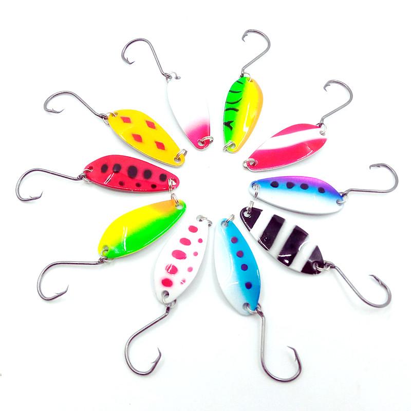 [해외]HiUmi 10pcs 4cm 6g 다채로운 송어 미끼 낚시 숟가락 미끼 단일 후크 금속 낚시 미끼 낚시 태클 swimbait pesca/HiUmi 10pcs 4cm 6g colorful trout lure fishing spoon bait single hook