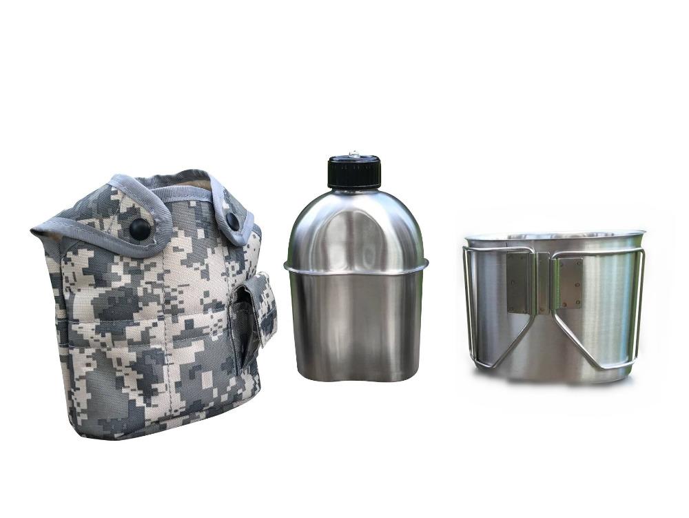 [해외]졸모 랜더 G.I. 유형 스테인리스 CanteenCup와 커버 Canteen 장비 1.2L Canteen와 Canteen CupLid/Jolmo Lander G.I. Type Stainless Steel CanteenCup and Cover Canteen Kit