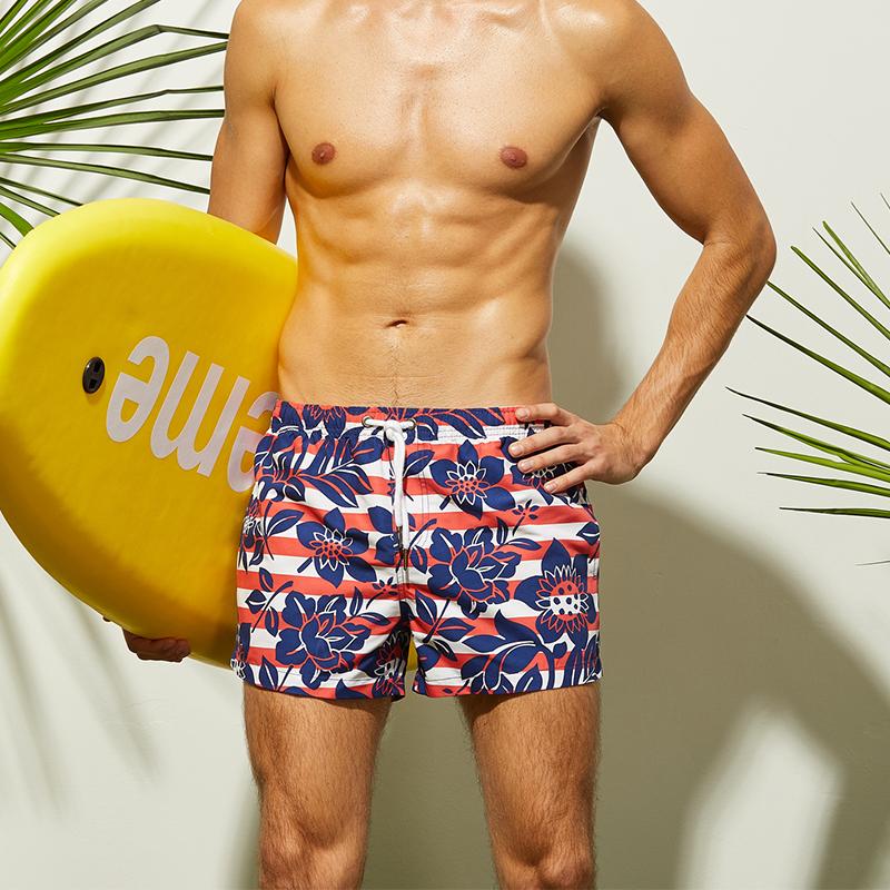 [해외]2018 새로운 남성 & s 스트라이프 비치 바지 꽃 인쇄 서핑 반바지 빠른 드라이 비치 바지 수영복 남성 수영 반바지 S-XL 크기/2018 New Men&s Striped Beach Pants Flowers Printed Surfing Shorts Q