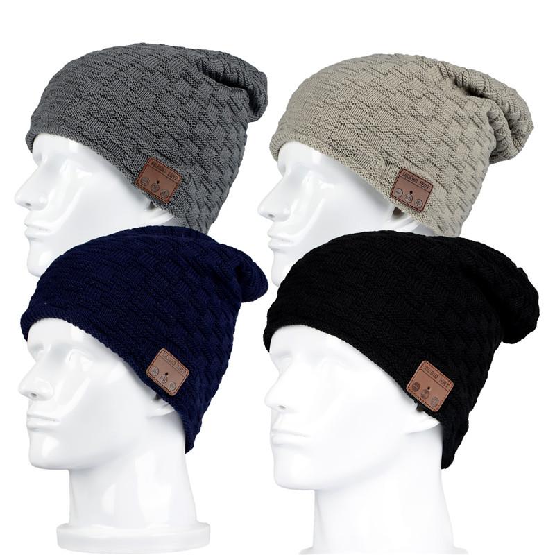 [해외]100p 무선 블루투스 3.0V Beanie 플러스 벨벳 겨울 실행 모자 헤드셋 마이크 헤드폰 음악 머리띠 스포츠 스마트 모자/100p Wireless Bluetooth 3.0V Beanie Knitted Plus Velvet Winter Running Hat