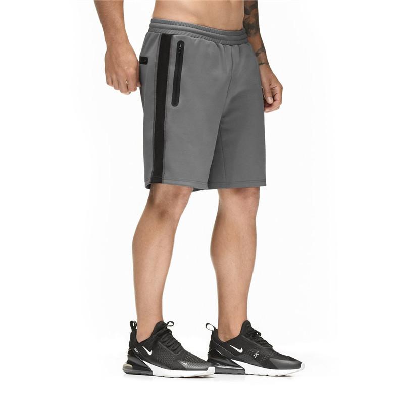 [해외]남자 블랙 운동 반바지 지퍼 포켓 야외 스포츠 반바지 남자 체육관 운동 훈련 반바지 탄성 허리 반바지/Men Black Running Shorts Zipper Pocket Outdoor Sport Shorts Men Gym Workout Training Shor