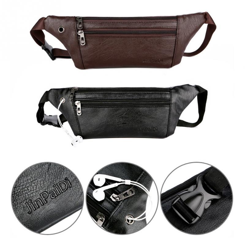 [해외]남자 다기능 남자 가방 솔리드 컬러 남성 허리 가방 초박형 가죽 허리 팩 PU 가죽 야외 스포츠/Men  Multifunction Man Bags Solid Color Male Waist Bags Ultrathin Leather Waist Packs PU Lea