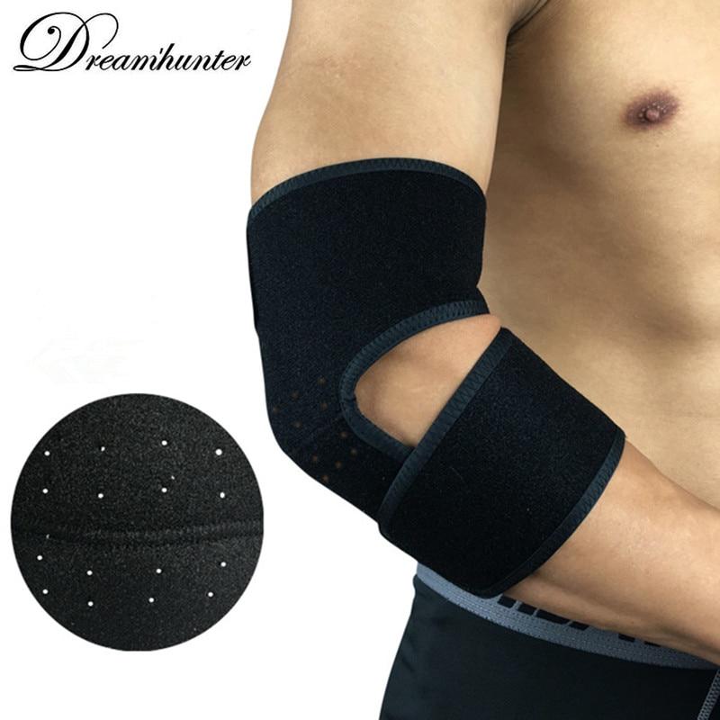 [해외]1PC 블랙 탄력 붕대 팔꿈치 지원 프로텍터 압축 조절 팔꿈치 패드 중괄호 러닝 사이클링 팔꿈치 패드/1PC Black Elastic Bandage Elbow Support Protector Compression Adjustable Elbow Pad Brace