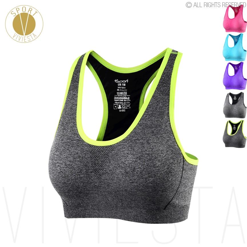[해외]원활한 Racerback 스포츠 브래지어 - 여자 체육관 요가 러닝 복싱 활성 높은 컨트롤 지원 무선 컴포트 브라 가기 큰 크기/Seamless Racerback Sports Bra - Women`s Gym Yoga Running Boxing Active Hig