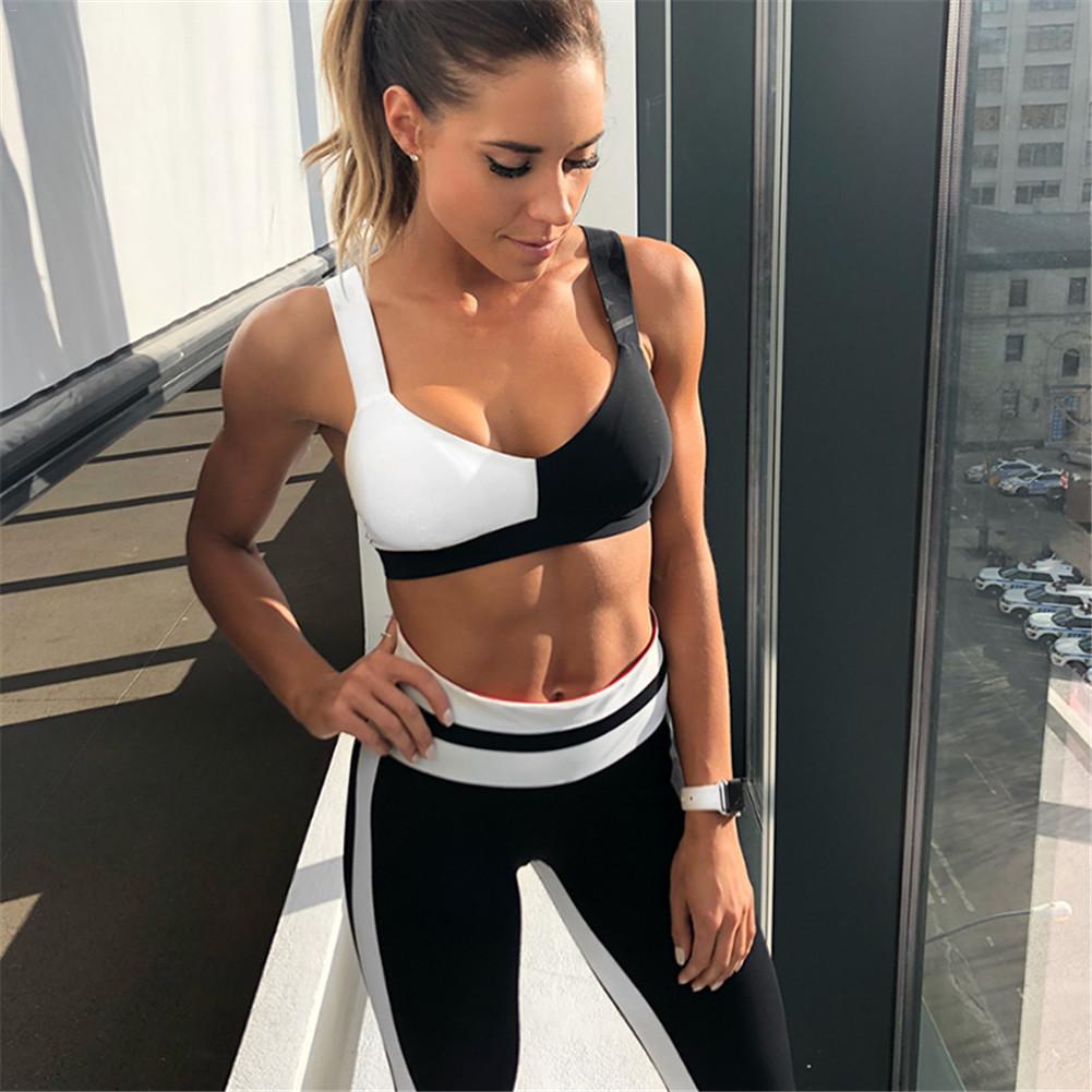 [해외]요가 스포츠 정장 여자 체육관 복장 휘트니스 달리기 Tracksuit 블랙 화이트 패치 워크 스포츠 브라 + 스포츠 레깅스 2 피스 세트/Yoga Sport Suit Women Gym Clothes Fitness Running Tracksuit Black Whi
