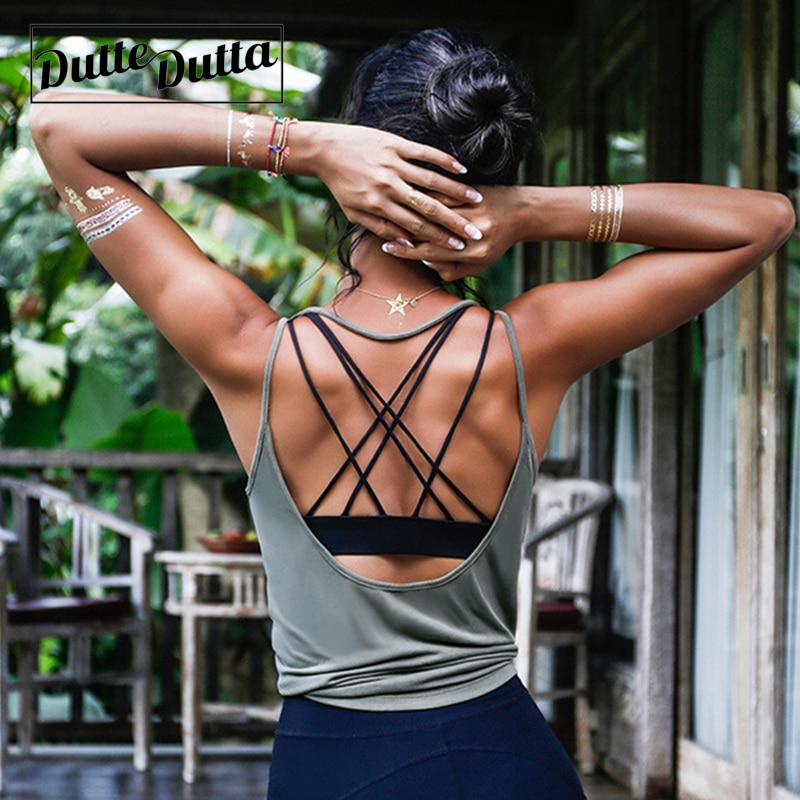 [해외]Dutte Dutta 섹시한 백 레스 요가 셔츠 탑 피트니스 여성 투명한 작물 탑 체육관 러닝 티 셔츠 탱크 탑 솔리드 스포츠웨어/Dutte Dutta Sexy Backless Yoga Shirt Top Fitness Women Breathable Crop To