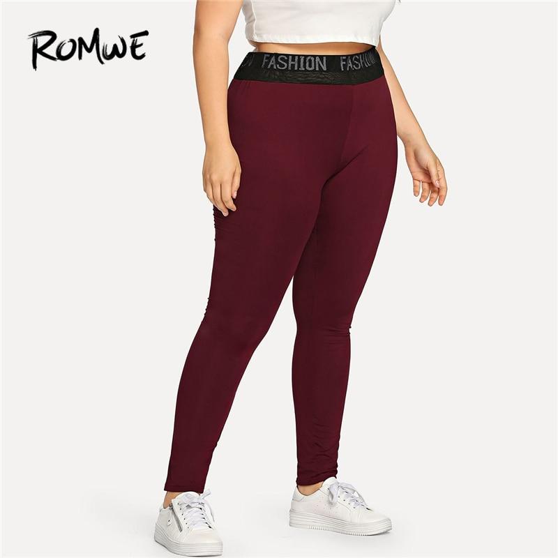 [해외]Romwe 스포츠 플러스 크기 부르고뉴 편지 여자 휘트니스 요가 타이츠 체육관 조깅 스포츠 레깅스 요가 러닝 바지 여성 레깅스/Romwe Sport Plus Size Burgundy Letter Women Fitness Yoga Tights Gym Jogging